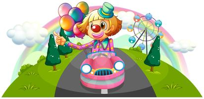 A pink car with a female clown