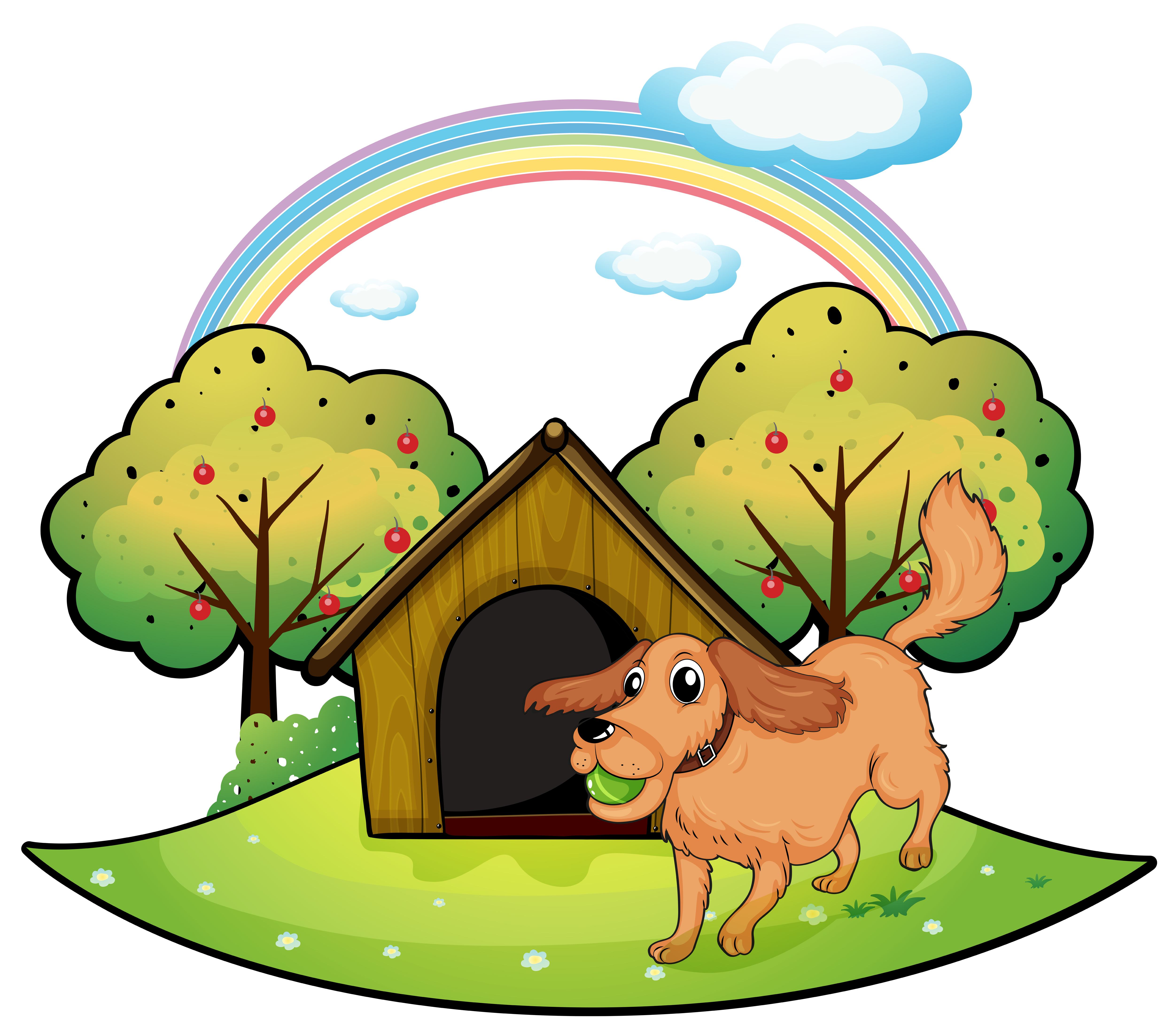 A Dog Playing Outside The Doghouse Near The Apple Tree Download Free Vectors Clipart Graphics Vector Art Find images of cartoon tree. vecteezy