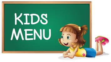 Little girl and kids menu on the board