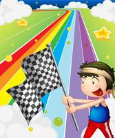 A boy holding a racing flag in the racing field