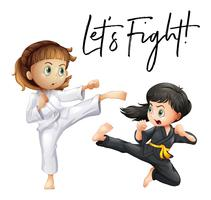 Word expression for let's fight with two girls fighting vector