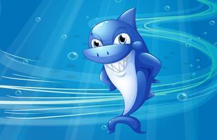 Uno squalo blu sotto il mare