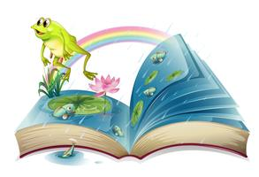 Um livro de histórias com um sapo e peixes na lagoa