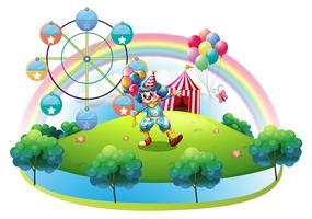 Um palhaço com balões no carnaval da ilha