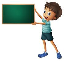 A boy holding an empty blackboard