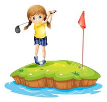 An island with a young girl playing golf