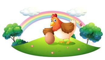Uma galinha com ovo