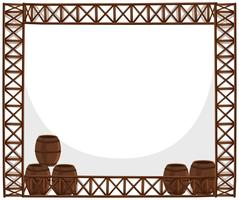 Frame design with wooden barrels vector