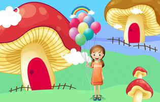 A girl with balloons near the mushroom houses