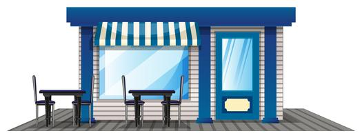 Cafe with outdoor dining tables vector