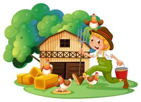 Farmer and barn