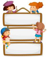 Children on empty signboard vector