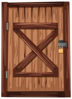 Wooden door with padlock