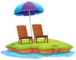 Two wooden chairs in the island