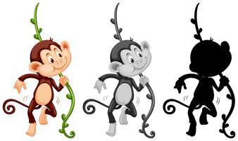Conjunto de personaje de mono vector