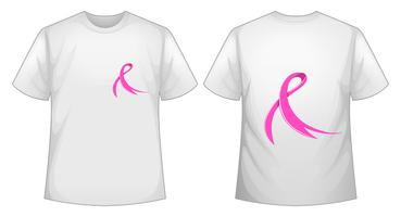 Pink ribbon on white T-shirt front and back vector