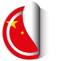 China vlag in stickerontwerp