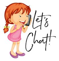 Let's chat poster with girl talking on mobile phone vector