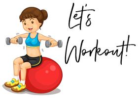Woman exercising and phrase let's workout