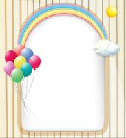 Um modelo vazio com um arco-íris e balões