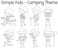 Camping boy and girl doodle