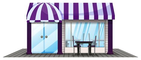 Coffee shop design with purple roof