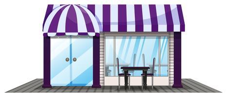 Design della caffetteria con tetto viola