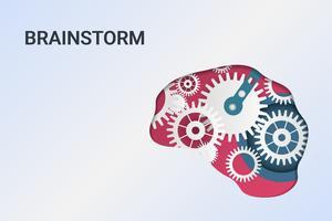 Brainstorming kreativ idé. Innovation och lösning. Människans huvud med kugghjul. Huvudtänkande.
