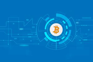 Technologie de blockchain de crypto monnaie abstraite bitcoin Illustration de fond