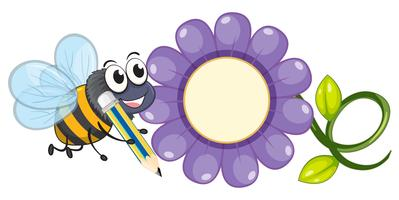 Bee and purple flower vector