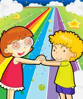 A colorful road with a girl and a boy holding hands vector