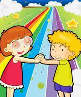 Een kleurrijke weg met een meisje en een jongen hand in hand