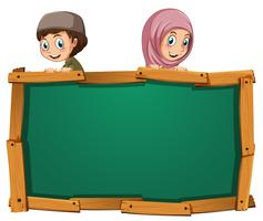 Board template with two muslim kids vector