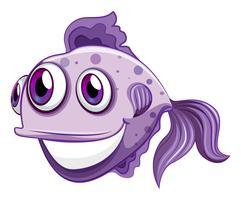 Um peixe violeta sorrindo
