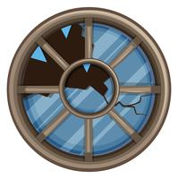 Round window with broken glass vector
