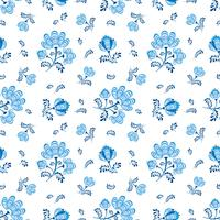 Floral seamless pattern. Ornamental flowers in russian style