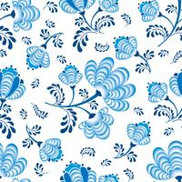 Swirl floral seamless pattern. Ornamental flourish in russian style over white background.