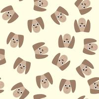 Vintage pattern with baby toys dog. Cute kids fluffy toy illustration.