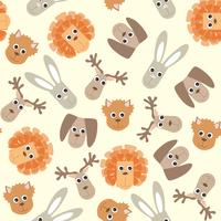 Vintage pattern with baby toys. Cute kids fluffy toy illustration.
