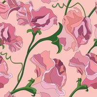Blommigt sömlöst mönster. Blomma virvla bakgrunden. Blommor ornamen