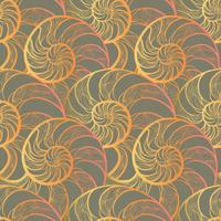 Abstract spiral seamless pattern. Wave nautilus marine background