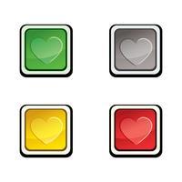 Schaltflächenset Ikonengestaltungselemente mit Liebesherzen.
