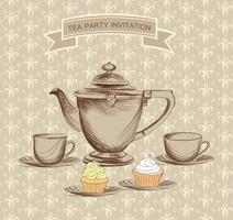 Tea cup, kettle retro card. Tea time vintage background. Hot drinks
