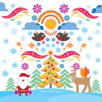 Christmas icons. Happy Winter Holiday background. Ornamental design elements.