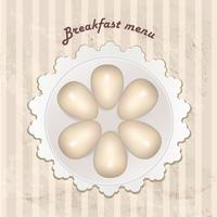 Breakfast menu with cooked eggs over seamless retro pattern. vector