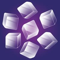 Ice Cube Icons Isometric Element Set