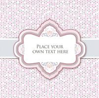 Gentle greeting card or invitation over polka dot seamless pattern