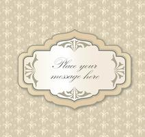 Gentle greeting card frame, invitation over polka dot seamless pattern