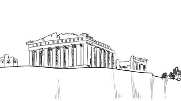 Travel Greece background. Athens city famous landmark building. vector