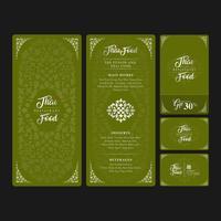 Comida tailandesa e menu de restaurante de comida de fusão, voucher de oferta e decoração de modelo de design de cartão de nome para impressão de ilustração vetorial
